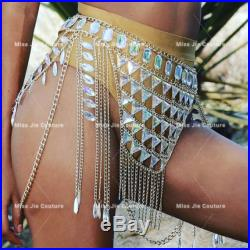 GiGi chain Skirt. Available in color silver, gold, black chain. EDC outfit, Rave bra, Rave bottom. festival outfit