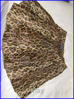 Gianni Versace Vintage Couture Leopard Print Pleated Skirt Lined in Leopard print Silk