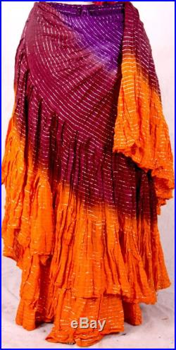 Golden Violet Sunrise 25 Yard Full Fluffy One of A Kind ATS Skirtand Gypsy Choli Top