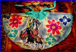 Gorgeous Vintage Hand Painted Bullfighter with Flowers Mexican Circle Skirt