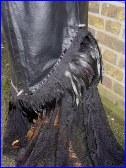 Gothic black leather skirt maxi with black lace train feather trim spikes size small upcycled