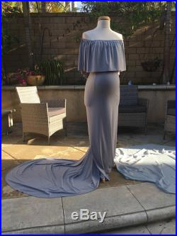 Gray fitted maternity gown, Ruffle off shoulder maternity gown, Slim fit Maternity Dress Wedding Dress