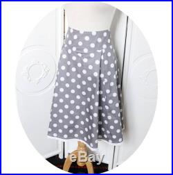 Grey flared skirt has white polka dots cotton sateen, cotton grey and white, grey skirt MIDI skirt has white polka dots