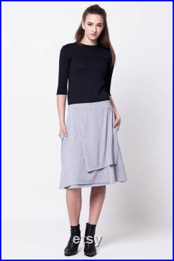 Grey jersey skirt with side pockets Grey layered jersey skirt Grey jersey skirt Layered skirt Skirt with pockets Grey skirt HANNA Grey
