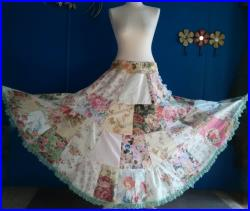 Gypsy Peasant Floral Boho lace Festival panel Romantic Patchwork Maxi Skirt cottage shabby OOAK L XL (can be made smaller)
