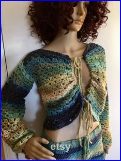 Hand Crochet Skirt and Top Set, Music Festival, Bohemian wear, Crochet Jacket, Summer Skirt and Top, Size Small Med, Ready To Ship