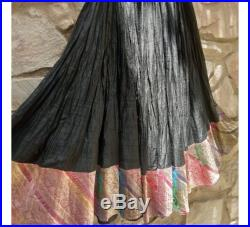 Hand Dyed Silk Women Skirt with brocade work at edges, skirt with pocket, Indian flared skirt lehenga pattern