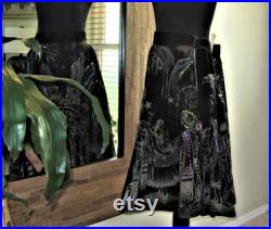 Hand Painted Black Velvet Circle Skirt with Sequins, Mexican Night Scene (Noche Mexicana), 31in Waist, Vintage 50s