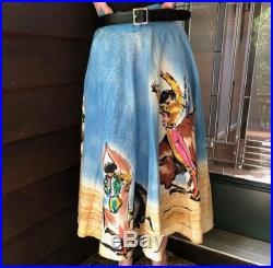 Hand Painted Skirt Mexican Matador Bull Fight BOHO Circle Skirt Vintage Western Mexicana Rockabilly Size (1950s) 16 by Lavable 100 Cotton