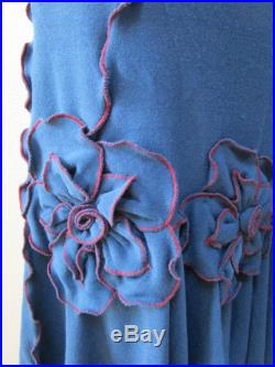 Hand made Blue color long length skirt with 3 roses decoration in the front also can be tube dress for optional plus made in USA (vn21)