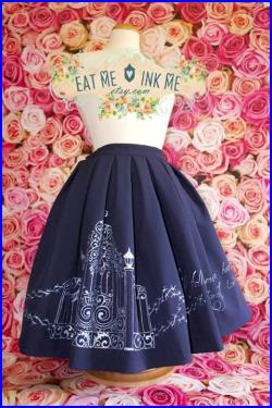 Hand painted print full skirt in dark green red navy blue black white with gold silver Key Heart Lock gothic lolita victorian goth steampunk