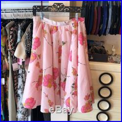 Handcrafted French Toast Kitty Pink Floral Skirt 50's Style Full Circle Skirt Waist 30 Pink Skirt Vintage Fabric Skirt Party Skirt