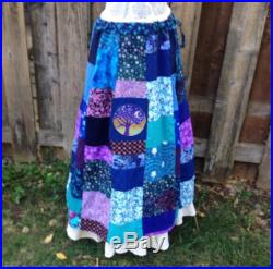 Handmade Hippie Patchwork Skirt, Boho Patchwork Skirt, women's blue purple patchwork Plus Size festival skirt, Phatcatpatch Hippie Clothing