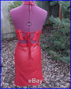 Handmade Red Leather 2pc Halter Skirt 80s Metal Fantasy Wear Cosplay Larp Comic-con Warrior Woman Xena Amazon Tribal Renaissance Festival