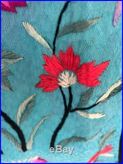 Handmade Turquoise Midi Skirt with Vintage Chinese Embroideries Butterfly on Chrysanthemum