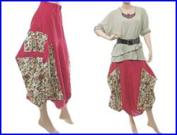 Handmade artsy boho skirt, linen in raspberry red with roses, bulgy balloony shape with pockets lagenlook plus size women, US size 14-16