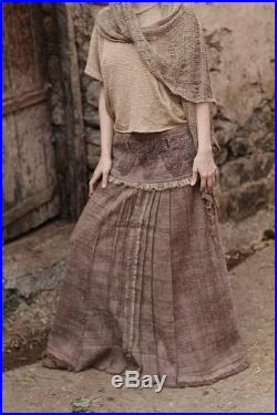 Handwoven Wool Lotus Skirt with Chinese antique style Embroidery