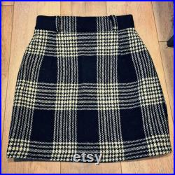 Harris Tweed Short Mini Skirt Black and Cream Houndstooth Tartan with or without belt loops custom length