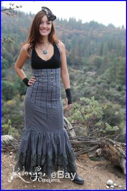 High Waisted Skirt Steampunk, Victorian, Adjustable, Lace Up Back, Gray Dress, Ruffled Skirt, Boho, Burning Man, Victory Skirt