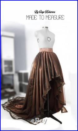 High low ball gown skirt with cathedral train Chocolate organza skirt Long satin skirt Brown formal skirt Bridal gown Custom Full skirt Lace