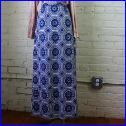 Brocade Maxi Skirt SMALL  1970s Vintage Formal Full Length Blue White Metallic Silver Geometric Snowflake Star Nelly De Grab Holiday Wear