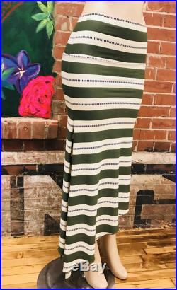 Horizontal Green Stripes, striped print Jersey Knit Asymmetrical skirt with slits and fishtail