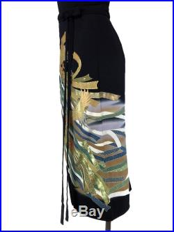 Iki skirt with beautiful motif of Crane painted and embroidered