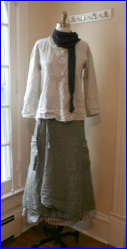 In Stock 2 Piece Swedish Washed Linen 'Camilla' Skirt and Petticoat