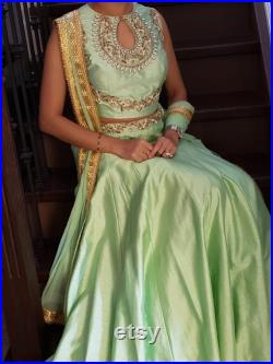 Indian Party Wear Pistachio Green Faux Silk Hand Embroidered Stitched Lehenga Choli with Crop Top