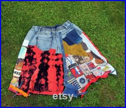 L-L XL Crazy pop art printed and thin blue denim recycled patchwork knee skirt hippie boho style