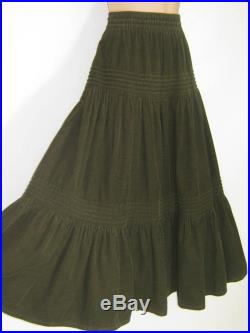 LAURA ASHLEY Vintage Olive Bohemian Gypsy Country Style Tiered Cotton Cord Skirt, S M