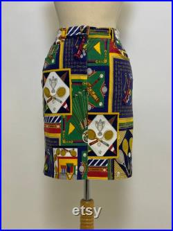 LES COPAINS Made in Italy Vintage 1980s 1990s novelty print denim skirt size S M