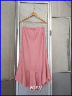LINEN and LACE Collection Rose linen bias cut skirt with hand- beaded hem