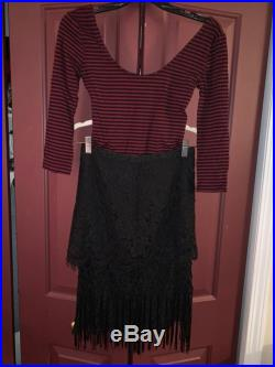 Lace fringe skirt with stripped body suit
