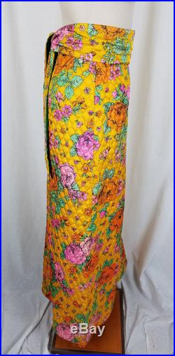Lanz Originals Quilted Hippie Boho Maxi Skirt Womens XS S 1960s Loud Bright Floral Festival Woodstock Coachella