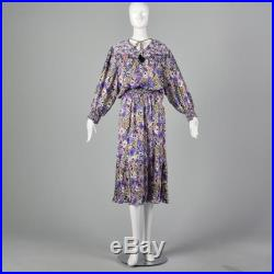 Large 1980s Skirt and Blouse Two Piece Set Purple Floral Flowy Boho Peasant Spring 80s