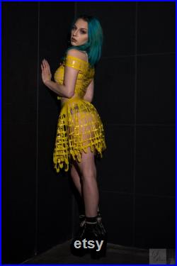 Latex Grid Mesh Circle Skirt in Yellow or ANY Colour