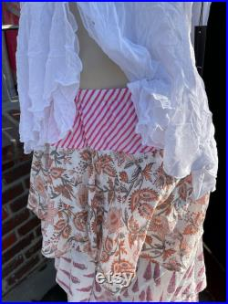 Layered mixed print cotton voile summer skirt