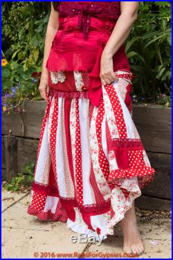 Layla Gypsy Bohemian Long Patchwork Red and White Skirt Alternative Festival Stevie Nicks Renaissance Hippie Hippy