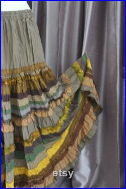 Leaf fall.Jypsy olive-yellow maxi skirt in boho-chic style. Multi-layer.