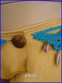 Leather hip belt, cream deerskin with crochet Caribbean blue lace, copper drops and button, size 35