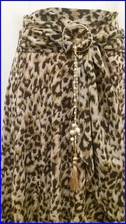 Leopard Animal Print Chiffon Full 1 2 Circle Maxi Skirt with Matching  Vintage Bead and Tassel Trimmed Belt 0ed1ca313
