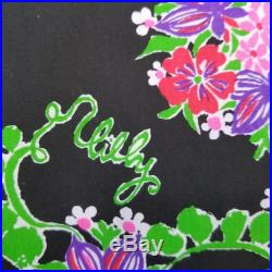 Lilly Pulitzer Skirt Rare Black The Lilly Vintage 70s Green Peas and Lilly Skaters Skirt Size S