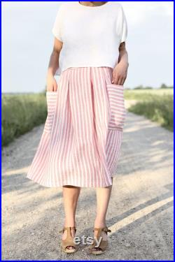 Linen Patch Pocket Skirt in Stripes Handmade by OFFON Clothing
