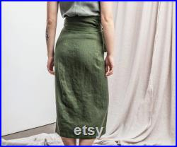 Linen skirt. Handmade linen wrap skirt in forest green color. Available in 47 colors.