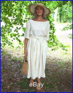Linen top and skirt set boho easy dress high waist Sunday best elevated casual 'Maya and Jools' southern belle ladylike dress