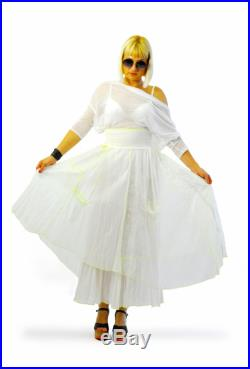 Long Extravagant skirt White summer Original Parachute fabric Woman skirt Asymmetrical white skirt with pockets Casual woman skirt S1393