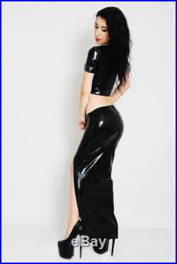 Long Latex Skirt with Thigh Split, Low waisted, Black, Long Sexy skirt. Rubber