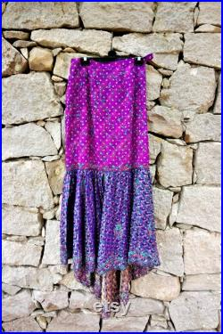Long Purple Blue Fishtail Sequin Beaded Vintage Skirt Size Small