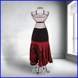 Long red black Skirt, with Lace